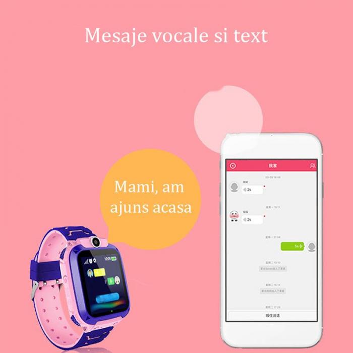 Ceas smartwatch copii GPS Q12, rezistent la apa, telefon, touchscreen, foto, monitorizare spion, buton SOS, roz 3